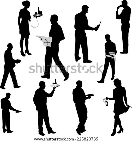 waiters and waitresses silhouette collection 1 - vector - stock vector
