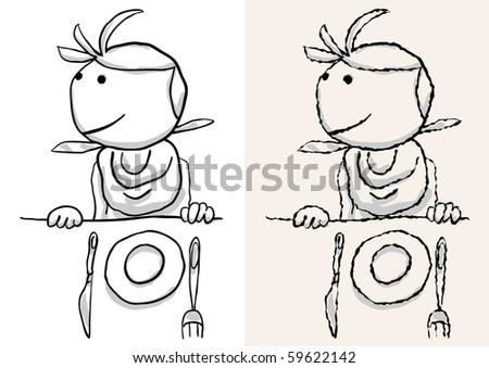 waiting for restaurant. rough and smooth - stock vector