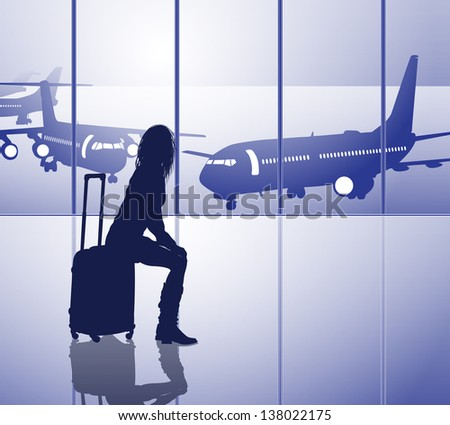 Waiting passenger with luggage in airport - stock vector