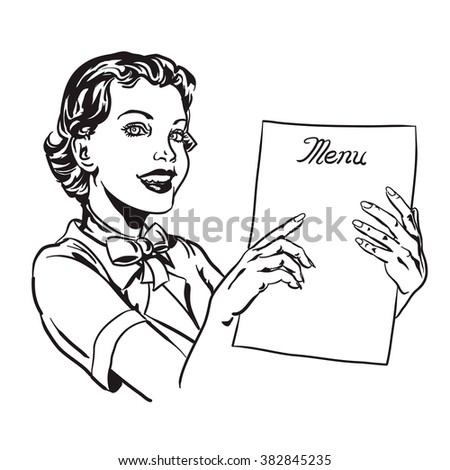 Waitress & Menu line illustration. A woman points to something on a menu.