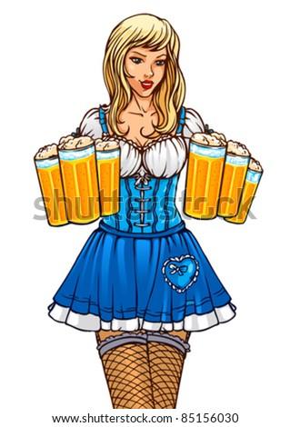 Waitress with beers - stock vector