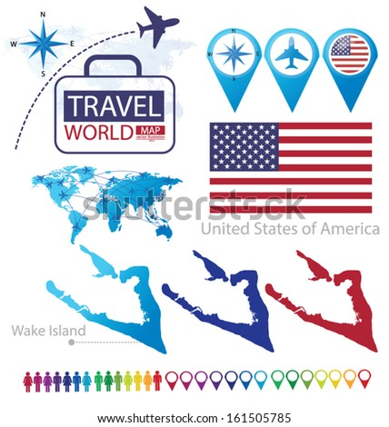 Wake Island. United States of America. flag. World Map. Travel vector Illustration. - stock vector
