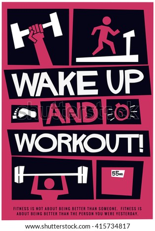 Motivational Gym Poster Vector Illustration