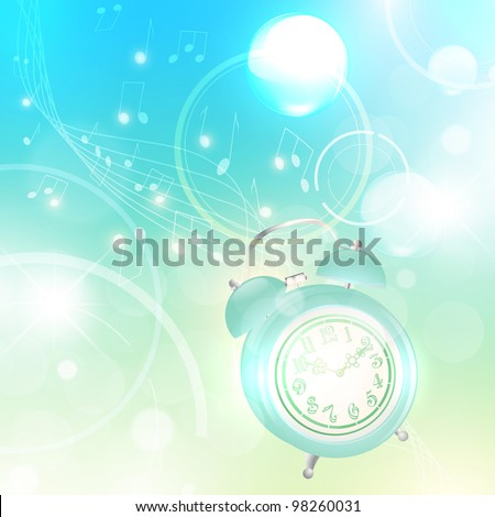 Wake up! Illustration of morning with ringing alarm clock over abstract light background - stock vector