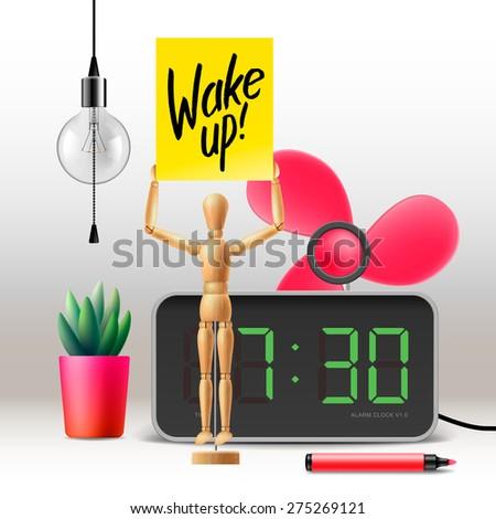 Wake up! Workspace mock up with digital alarm clock, vector illustration.  - stock vector
