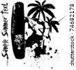 wakeboarder summer vector sticker background - stock vector