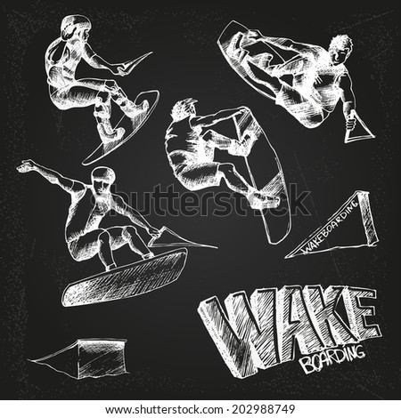 wakeboarding set on the chalkboard - stock vector