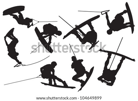 wakeboarding silhouette - stock vector