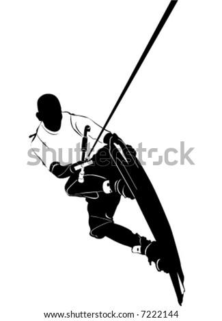 wakeboarding vector - stock vector