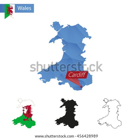 Wales blue Low Poly map with capital Cardiff, versions with flag, black and outline. Vector Illustration. - stock vector