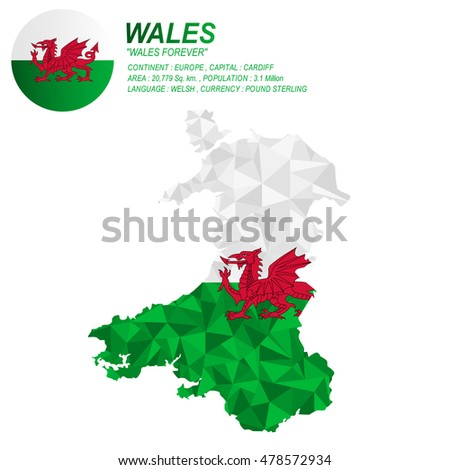 Wales Flag Overlay On Wales Map Stock Vector Shutterstock - Welsh language map