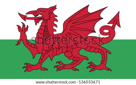 Wales flag, vector. RGB color values