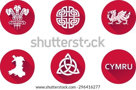 Wales Flat Icons Set Set Vector Stock Vector 296416277 Shutterstock