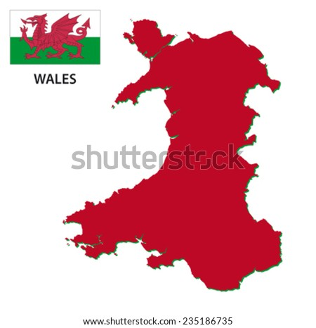 wales map with flag - stock vector