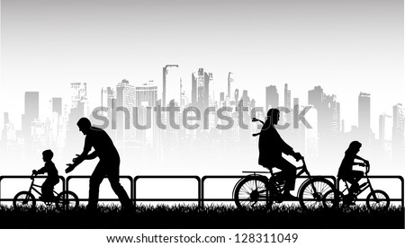 walk by bicycle a vector background - stock vector