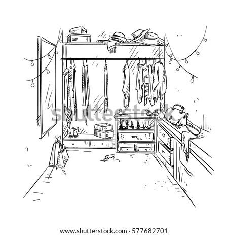 Walk In Closet, Cloak Room Drawing. Interior Vector Sketch.