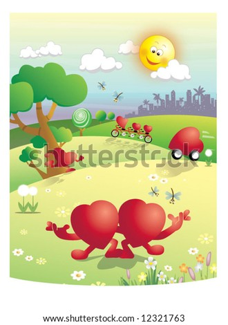Walk In Love - stock vector