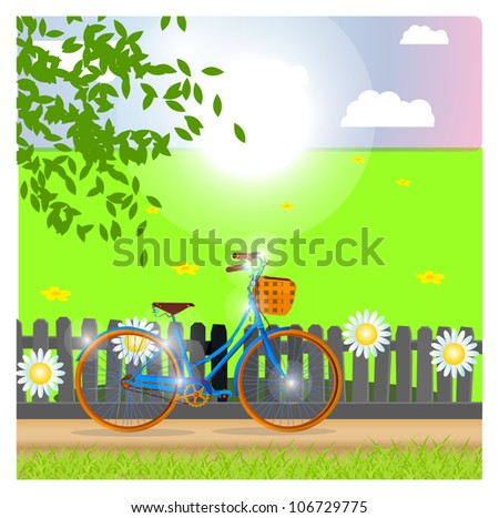 walk on a bicycle - stock vector
