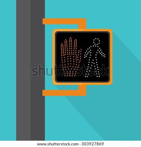 Walk Signal Flat Vector - stock vector