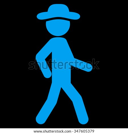 Walking Agent vector icon. Style is flat symbol, blue color, rounded angles, black background. - stock vector
