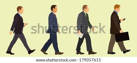 Walking Business Men - stock vector