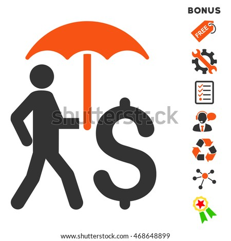 Walking Businessman With Umbrella icon with bonus pictograms. Vector illustration style is flat iconic bicolor symbols, orange and gray colors, white background, rounded angles.
