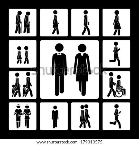 walking design over black background vector illustration - stock vector