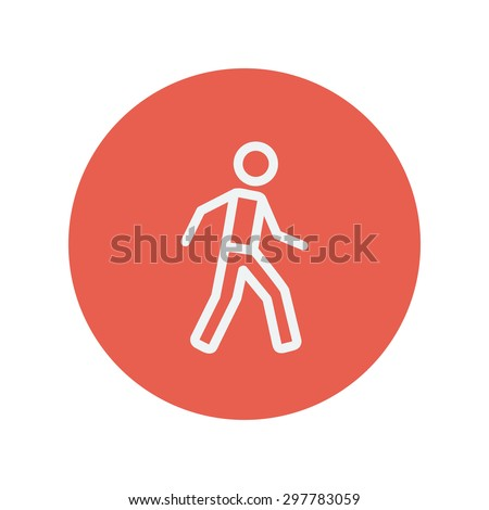 Walking exercise thin line icon for web and mobile minimalistic flat design. Vector white icon inside the red circle. - stock vector