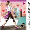 walking girl - stock vector