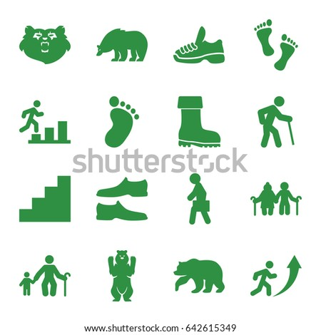 Walking Icons Set Set Walking Stock Vector Shutterstock - Bootman us map