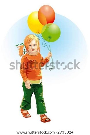 Walking little girl with balloons - stock vector