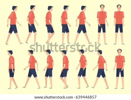 Walking Man Animation 14 Frame Sequence Stock Vector 639446857 ...