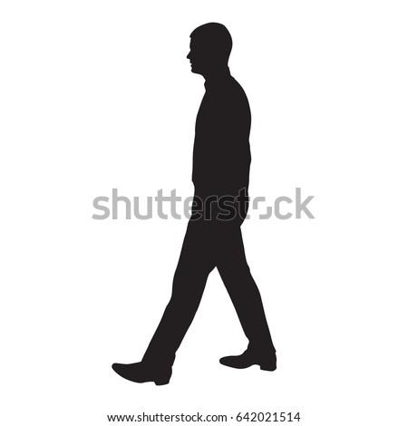 walking man profile side view vector stock vector hd royalty free rh shutterstock com man run silhouette vector man silhouette vector side