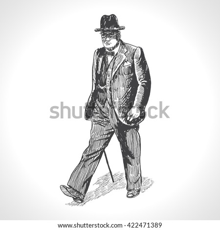 Walking man. Retro Gentleman With Suit Hat And Walking Cane walking with cane isolated on white background. Hand drawn vector illustration in vintage engraved style