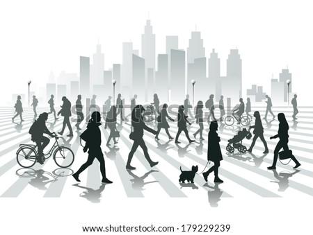 Walking people in city - stock vector