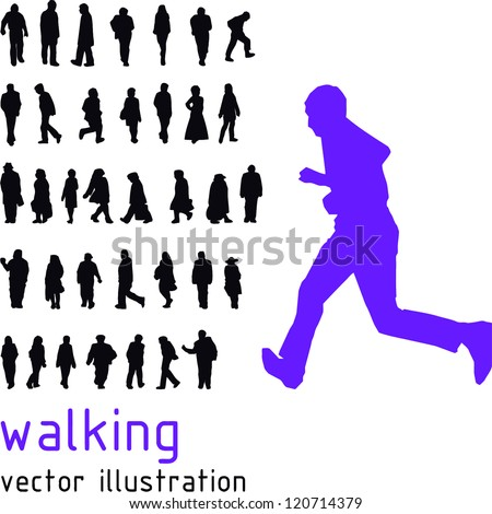 Walking people vector silhouettes