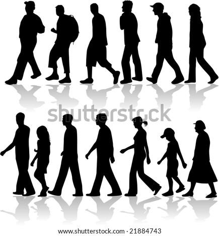 Walking People- vector work - stock vector