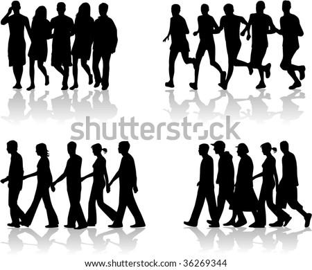 Walking People- vector work 1 - stock vector