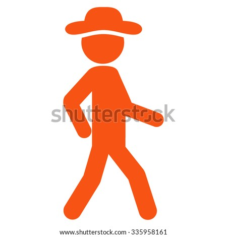 Walking Person vector icon. Style is flat symbol, orange color, rounded angles, white background. - stock vector