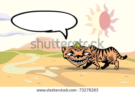 Walking tiger with the speaking bubble. This is the editable vector image saved in EPS file. - stock vector