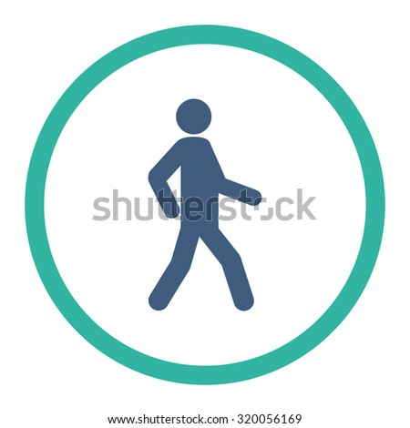 Walking vector icon. This rounded flat symbol is drawn with cobalt and cyan colors on a white background. - stock vector