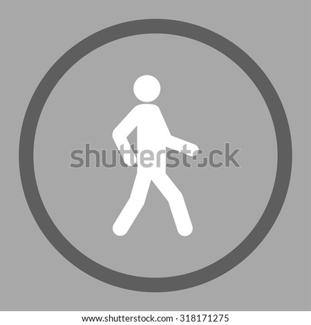 Walking vector icon. This rounded flat symbol is drawn with dark gray and white colors on a silver background. - stock vector