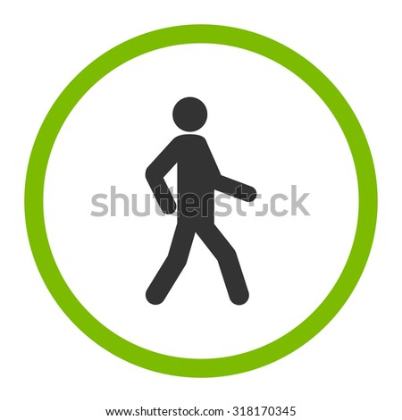 Walking vector icon. This rounded flat symbol is drawn with eco green and gray colors on a white background. - stock vector