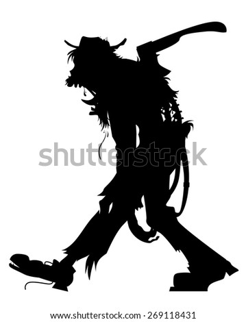 walking zombie silhouette - stock vector