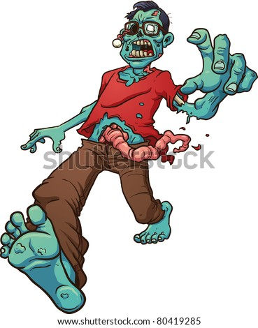 Walking zombie wearing glasses. Vector illustration with simple gradients. All in a single layer. - stock vector