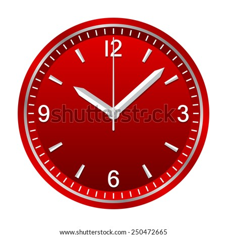 Wall analog clock shows 10:08, geometrically right angled arrows - stock vector