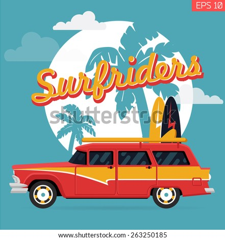 Wall art graphics design on surf riders with typography, palm silhouette and old retro woodie wagon surf car with surfboards - stock vector
