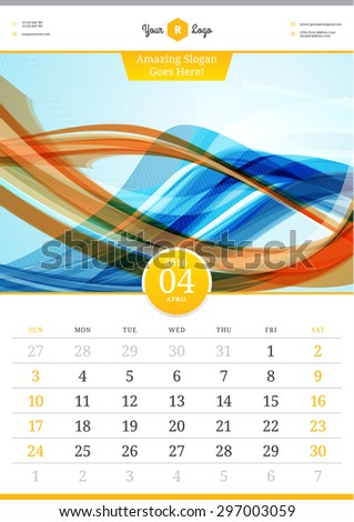 Wall Calendar 2016. April. Vector Template with Abstract Background. Week Starts Sunday - stock vector
