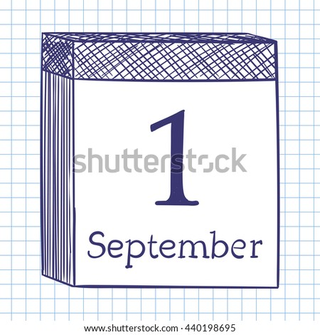 Wall calendar. Doodle sketch on checkered paper background. Vector illustration. - stock vector