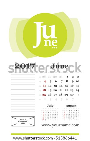 Wall calendar for june 2017 year. Week start sunday, classic grid with numbers. Editable vector template.
